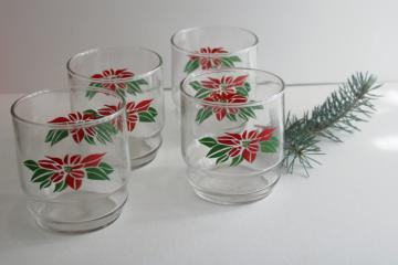 1980s vintage Christmas poinsettia red & green print lowball glasses, Indiana glass