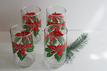 1980s vintage Christmas poinsettia red & green print tumblers, Indiana glass