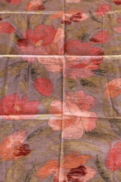 1980s vintage Lombardie French decorator fabric, blush pink floral on greige