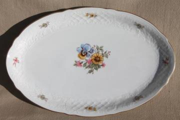 1980s vintage Schumann Bavaria porcelain platter or tray, yellow daisy pansy floral
