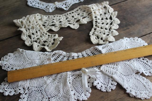 1980s vintage crochet lace collars, round peter pan collars mommy & me sizes