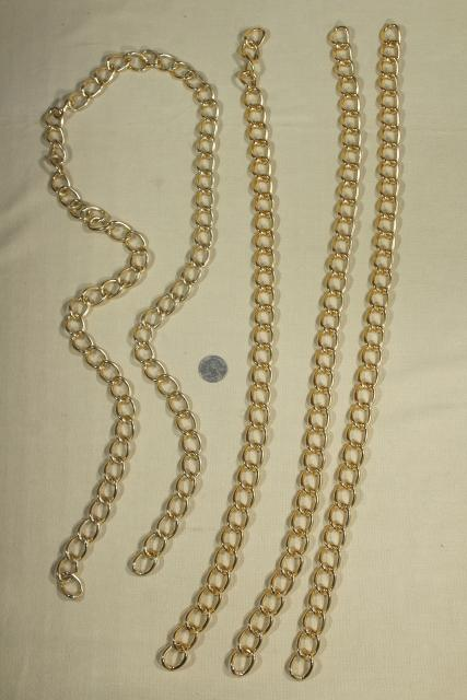 1980s vintage gold tone metal chain drapery hardware, curtain tie backs new w/ tags