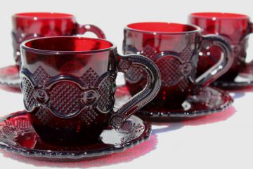 1990 vintage Avon Cape Cod ruby red glass cups and saucers, set of four