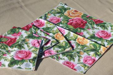 1990s Royal Albert Old Country Roses china go-along cloth fabric napkins, never used