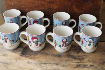 1990s vintage Snowman Seranade mugs or coffee cups set of 8, four different designs