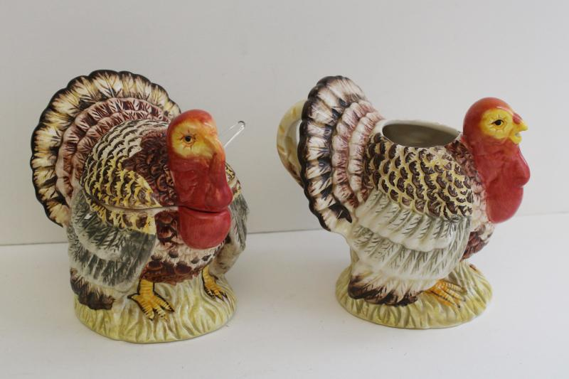 1990s vintage Thanksgiving turkeys, ceramic tom turkey cream pitcher & sugar set