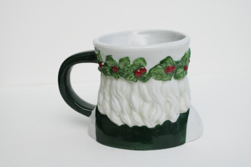 1990s vintage ceramic St Nicholas mug, green man Santa head w/ holly crown
