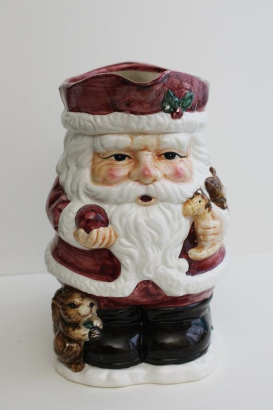 1990s vintage hand painted ceramic Santa pitcher, St Nick w/ squirrel & toys