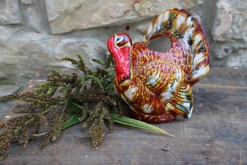 1990s vintage handmade ceramic Thanksgiving turkey planter figurine, holiday decor