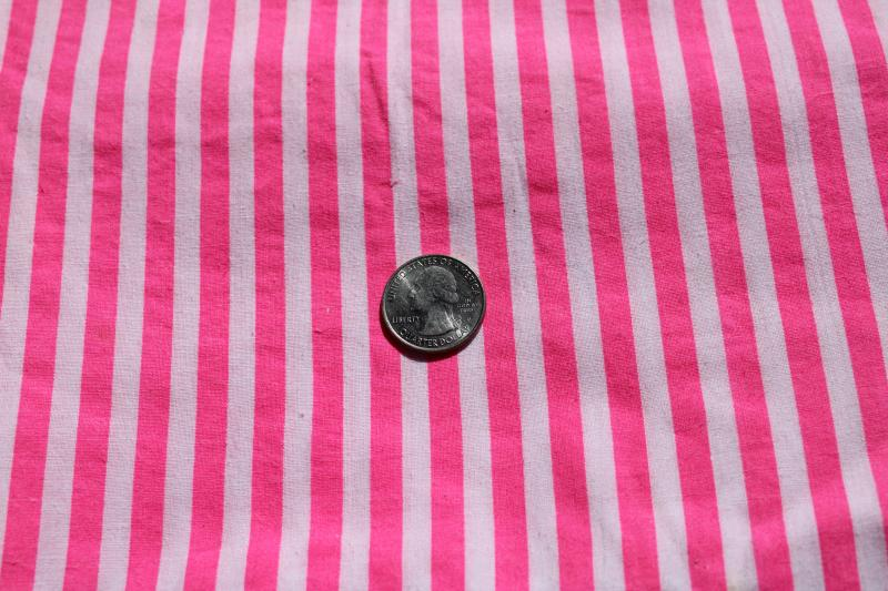 1990s vintage neon pink / white stripe cotton fabric, girly hot pink striped shirting