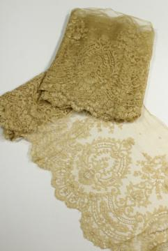 19th century antique ecru silk lace flounce, wide lace edging, French or Belgian?