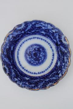 19th century flow blue bowl, antique Staffordshire blue & white china