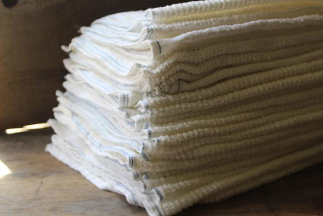 2 dozen vintage bakery kitchen towels, thick white cotton terrycloth dish towel set