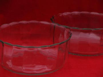2 large glass salad bowls, vintage Princess House crystal optic waves