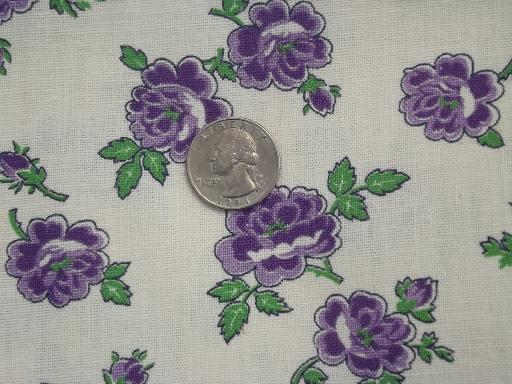 2 old feed sacks, lot purple roses flowers print cotton feedsack fabric