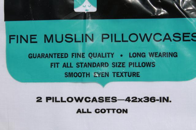 2 pairs vintage white muslin pillowcases, mint in package plain pure cotton pillow cases