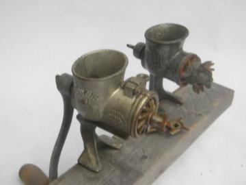 2 primitive antique food chopper meat grinders, old farm kitchen tool