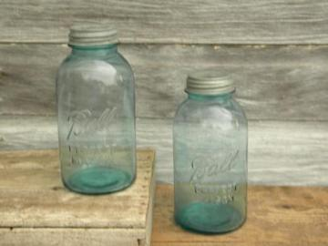 2 quart vintage blue glass Ball Perfect Mason fruit jars w/zinc caps