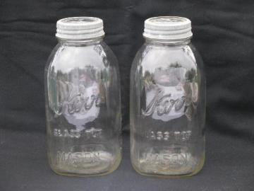 2 vintage Kerr 2 quart glass lid canning jars for storage canisters