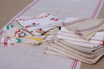 20 vintage cotton kitchen towels, assorted floursack towels, dish towel lot