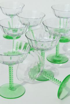 20s 30s art deco green twist stem champagne glasses w/ clear glass coupe bowls