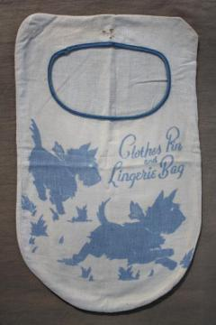 20s 30s vintage clothespin bag, flapper era laundry bag w/ Scotty dog print