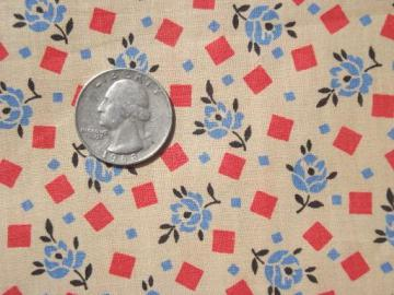 20s 30s vintage cotton fabric, 4 yds 36w art deco print dress material