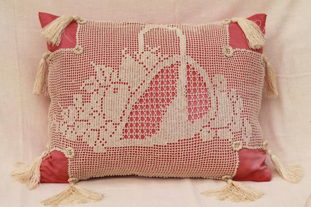 20s 30s vintage cushion or bed pillow, feather pillow w/ filet crochet lace & tassels