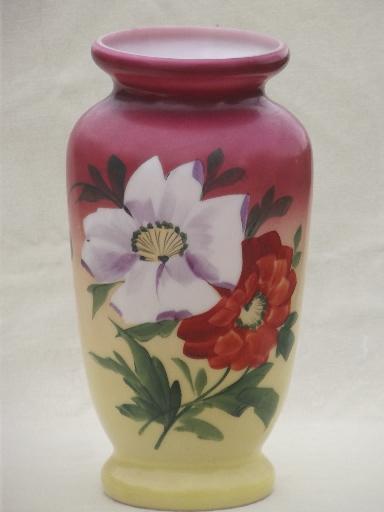 20s 30s Vintage Milk Glass Lamp Base Vase W Peach Blow Hand Painted