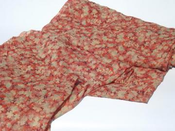 20s 30s vintage sheer floral cotton print fabric, gauzy dress material