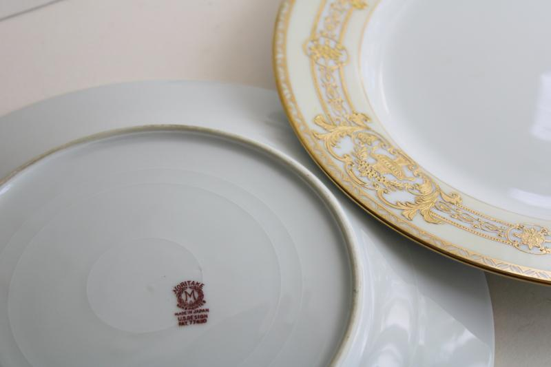 20s vintage Noritake red M mark porcelain dinner plates raised gold moriage encrusted
