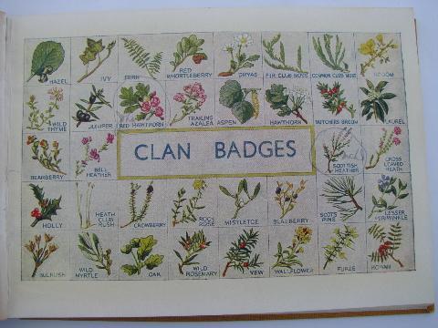 20s Vintage Scottish Tartans Family Clan Name Patterns Color Illustrations