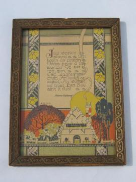 20s vintage framed cottage print, depression era inspirational motto