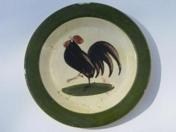 20s-30s vintage PAW Czech pottery plate, Torquay style Moravian rooster