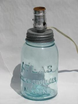 20s-30s vintage aqua blue glass fruit jar, wired as electric table lamp