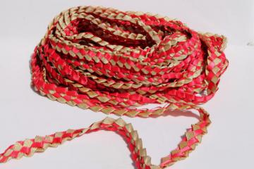 25 yards handmade woven ribbon garland, Scandinavian Christmas red & metallic gold