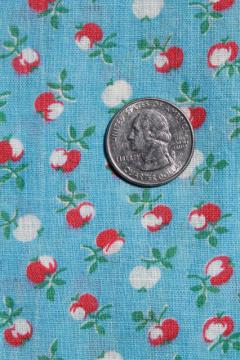 3 yards unused vintage cotton feedsack fabric, little red apples on sky blue