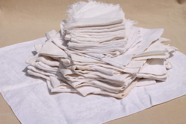 30+ cotton & linen damask fabric napkins, mismatched vintage table linen, cloth napkin lot