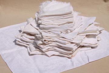 30+ cotton & linen damask fabric napkins, mismatched vintage table linen, cloth napkin lot