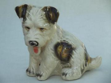 30s 40s vintage carnival chalkware prize, Scottish terrier  toy dog
