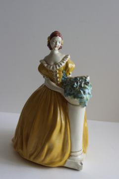 30s 40s vintage chalkware lady figurine, Royal Doulton style girl hand painted plaster