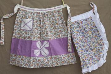 30s 40s vintage cotton kitchen apron lot, flowered print fabric ruffled aprons