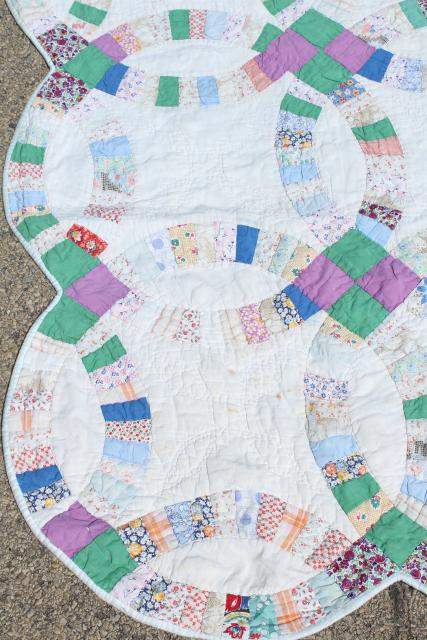 30s 40s Vintage Double Wedding Ring Quilt Hand Stitched