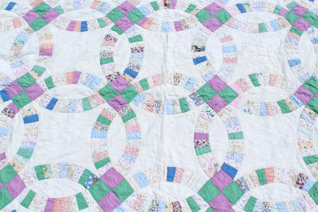 30s 40s vintage double wedding ring quilt, hand stitched cotton print fabric patchwork