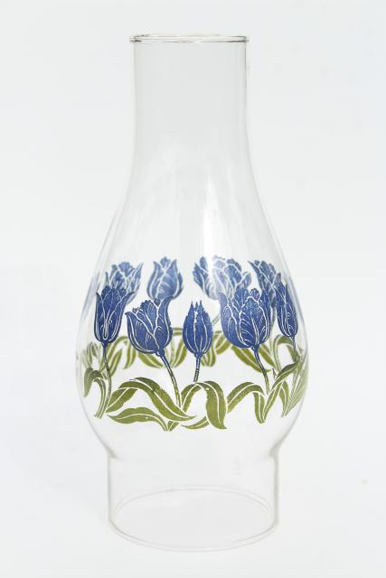 30s 40s vintage glass hurricane chimney lampshade, blue tulip print kitchen glass oil lamp shade