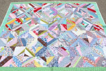 30s 40s vintage hand stitched patchwork quilt, cotton print fabric in all colors