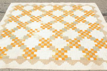 30s 40s vintage hand stitched patchwork quilt, mustard gold & faded sage
