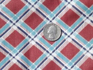 30s 40s vintage print cotton fabric, 10 yds rust red & teal blue plaid