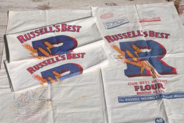30s 40s vintage print cotton flour sacks, cambric fabric stamped linens to embroider