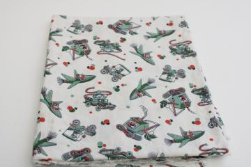 30s 40s vintage print feedsack fabric, boys w/ rocket planes, steam shovel, fire trucks
